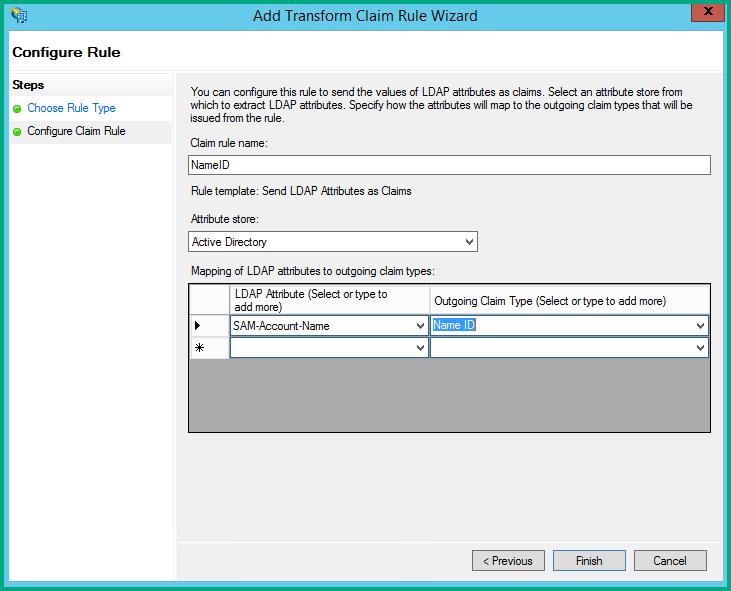 Configure the ADFS SAML token