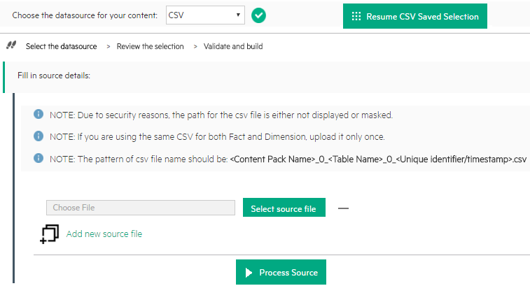 csv file as source